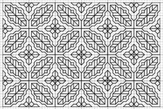 Blackwork fill pattern - this one definitely looks like leaves Motifs Blackwork, Blackwork Cross Stitch, Blackwork Embroidery, Cross Stitch Charts, Cross Stitching, Cross Stitch Embroidery, Embroidery Patterns, Embroidery Leaf, Christmas Friends