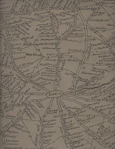 Vintage Masculine London Map Wallpaper - Coffee transitional-wallpaper