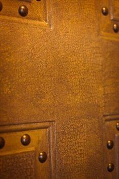 Crocodile leather door with nailhead trim - Interior Design Idea in Eagan MN