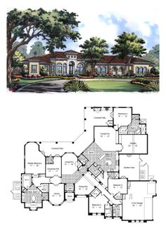 House Plan 63225 - Florida, Mediterranean Style House Plan with 5343 Sq Ft, 4 Bed, 6 Bath, 3 Car Garage Best House Plans, Country House Plans, Dream House Plans, House Floor Plans, My Dream Home, Florida House Plans, Florida Home, Dual Space, 5 Bedroom House Plans