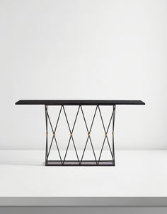 """JEAN ROYÈRE """"Tour Eiffel"""" console table, ca. 1949 Painted steel, black marble, brass"""