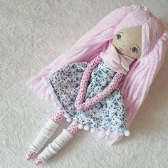 Pink Handmade cloth doll rag doll fabric doll heirloom