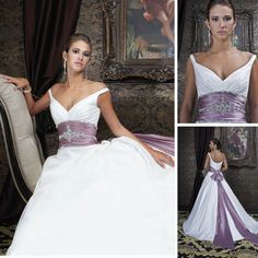V-neck Beading Waistline Long Sash Purple And White Wedding Dresses on AliExpress.com. 5% off $160.55