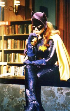Yvonne Craig as Batgirl in the unshown tryout pilot for her character. Note the pointy bottoms of her mask; in the series, they rounded them off because they made indentations in her face.