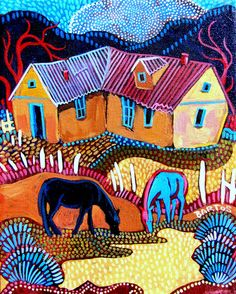 One black horse and one blue graze in front of their Northern New Mexican adobe casita. Painted in an impressionistic and decorative style, you will even