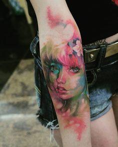 #sakura #aquarela #girl #woman #anime #asian #japan #face #paint #color #flower #ink #watercolor #franltattoo #tatuagen #tattoos #inkmachines #electricink #portrait #anime #japan #asian #manga #color #sakura