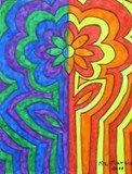 Artsonia Art Exhibit :: Abstracted Flower in Warm vs Cool Colors-1st grade