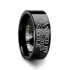 Duck Band Style Custom Engraved Black Tungsten Ring Flat Polished - 4mm - 12mm