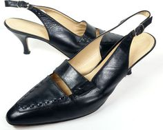 BOTTEGA VENETA Black Leather Slingback Heels Sz 9.5 Made in Italy *LOVELY*  #BottegaVeneta #Slingbacks
