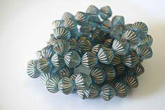 Blue Glass Bicone Aqua Czech Glass Beads Blue African Beads Aqua Czech Beads Aqua Matte Beads Blue Frosted Beads 11mm (6 pcs) 2V3
