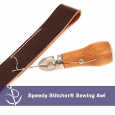 Professional Leather Wood Handle Awl Tools For Leathercraft Stitching Sewing OJ
