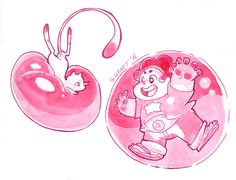 Actual (pink) bubble buddies Mew and Steven~