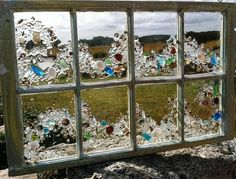 Window Art & Four Pane Beach Glass Window By Beachcreation On Etsy Mosaic Windows, Stained Glass Windows, Sea Glass Crafts, Sea Glass Art, Window Art, Window Frames, Window Ideas, Mosaic Art, Mosaic Glass