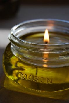 """Olive Oil candle- clean burning, no chemicals, super easy to make and personalize with your own scent!"""
