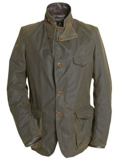 """Barbour - oiled, Beacon Dept-B Commander sports jacket. Updated from the innovative and iconic limited edition Heritage X """"to ki to"""" version worn by Daniel Craig in Skyfall. So, if it's good enough for 007..."""