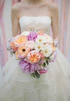 spectacular peach and lavender bouquet featuring peonies, poppies and roses by Petals Ink