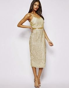 fb6554513813 Image 1 of Virgos Lounge Roanna Cami Midi Dress in All Over Embellishment