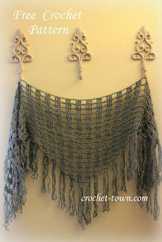 Triangular scarf, free crochet pattern ༺✿ƬⱤღ http://www.pinterest.com/teretegui/✿༻
