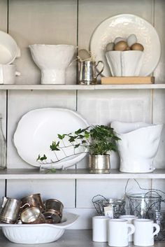 I'm starting to see a pattern....white dishes, green plant, metal accents.