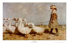 To Pastures New Print - by Sir James Guthrie This hung in my parent's kitchen for years. I love it.
