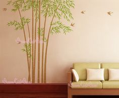 Wall Decal Home Decor Vinyl Sticker Art Mural-Bamboo Forest Tree decal-DK022 via Etsy