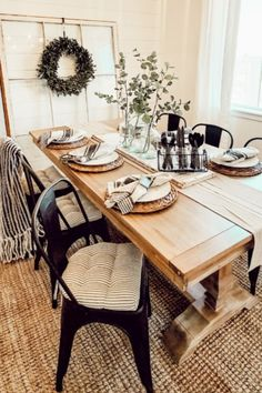 """Quality is so amazing and they ship super fast. I have ordered twice now an am so in love!!!"" - Christina K. Industrial Chair, Ticking Stripe, Chair Cushions, American Made, Latex, Table Settings, New Homes, Shelves, Open Spaces"