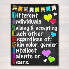 Diversity Poster, Printable Beautiful Printables for Home School Work by TidyLadyPrintables Classroom Walls, Classroom Posters, School Classroom, Classroom Decor, Classroom Displays, School Counselor Office, School Counseling, School Office, Psychologist Office