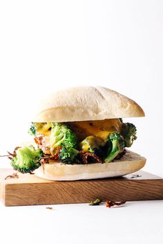 dress your burger up with broccoli and cheddar!