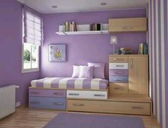 Love thiis design for a small room, bed on top of dresser room and organize love the colors!