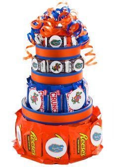 Florida Gators Candy Cake -  Great addition to a tailgate, graduation gift or unique gift for any sports fan!