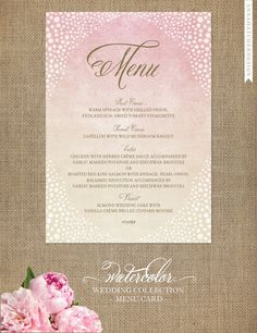 Menu Cards - Watercolor Wedding Collection - Design for Printed Menu Card with FREE SHIPPING