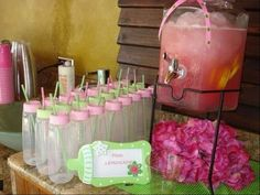 "I love the idea of using bottles as a ""cup"" option for a baby shower. This is one of the most  popular baby shower ideas. Now this was a baby shower FULL of ideas incorporated and made into one chic baby shower! Loved it!"