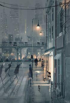 Street at night illustration Illustration Nocturne, Night Illustration, Pascal Campion, City Art, Amazing Art, Fantasy Art, Cities, Concept Art, Art Drawings