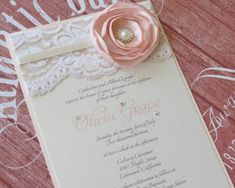 OLIVIA - Blush and Ivory Lace Baptism Invitation - with Flower and Pearls on Etsy, $4.50: