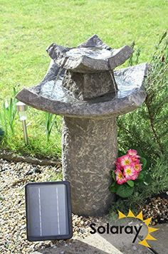 Small Solar Powered Water Feature Grey Resin Pavilion Birdbath Fountain.  More Like This At Www