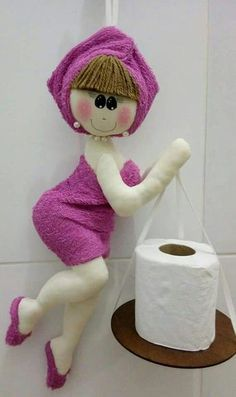 Discover thousands of images about Marina Baires Diy Home Crafts, Doll Crafts, Sewing Crafts, Sewing Projects, Diy Toilet Paper Holder, Toilet Roll Holder, Bathroom Crafts, Diy Couture, Sewing Dolls