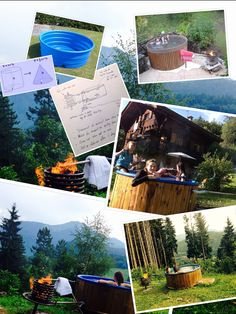 DIY hot tub, French Alps, see  ChaletLeMoulin.co.uk for details... 3hrs to heat to bath temp, 15 to 40 degrees. About 1300 litres (about 7 large baths)