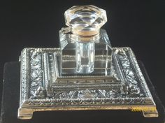 Antique Crystal and Silverplate Inkwell Desk Set via Etsy
