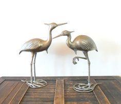 vintage midcentury large brass heron figurines  by compostthis, $65.00 @Etsy