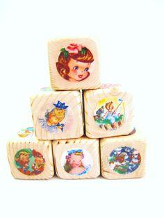 Wood Baby Blocks. Baby Shower Decor. Retro Style Nursery Decor. Vintage Kids. UNIQUE GIFT. $22.00, via Etsy.