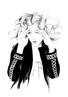 Black & white fashion illustration // Caroline Andrieu