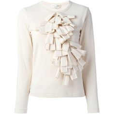 Comme Des Garçons ruffle detail front sweater (£235) ❤ liked on Polyvore featuring tops, sweaters, comme des garcons sweater, white cotton sweater, frilly tops, white sweater and flutter-sleeve top