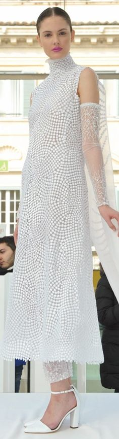 Gattinoni ~ Haute Couture White Textured Maxi Dress 2015