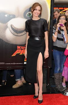 """Angelina at the Los Angeles Premiere of """"Kung Fu Panda 2,"""" dressed in a simple black belted ensemble."""