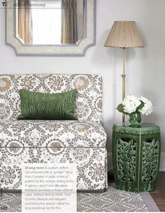 green, greige, and gold | carleton varney upholstery + garden stool | Allison Hennessy, Trad Home