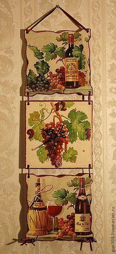 """Купить Часы-панно настенные """"Вино и виноград Бордо"""" - бордовый, часы кухонные, часы декупаж"""