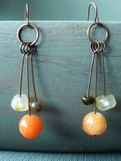 Orange White and Brown Agate on Copper Wire by Studio70Seven, $18.00    shop now at www.studio70seven.etsy.com