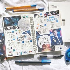 ☁️✨ hello i'm back ! i've been slowly getting things done, but as of now, here is a recent spread i made for december! it's one of my favorites since it's space themed and navy blue i made a video over this spread so if you want to see the process of me making it, click the link in my bio on my profile! i'm really excited now that my next color for my feed will be navy blue. what do you guys think? (/^▽^)/