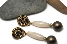 White drop earring jade earrings clip on earrings by UneDemiLune