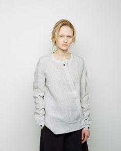 HACHUNG LEE | Striped Linen Asymmetric Placket Shirt | La Garçonne